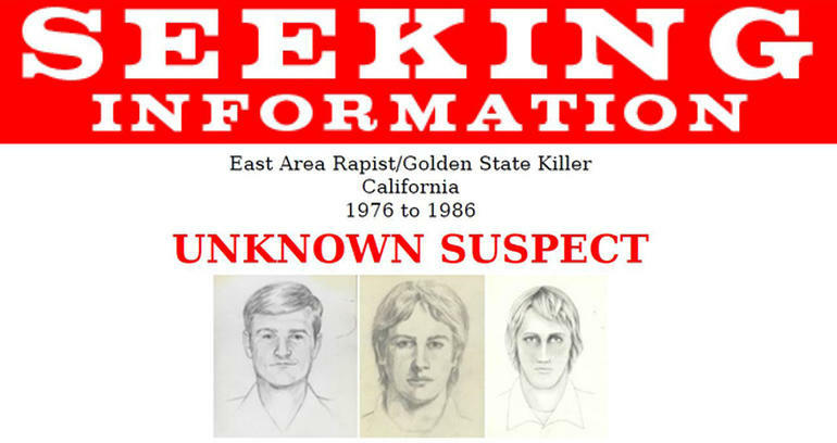 The FBI released this flier containing three sketches of the suspect in the Golden State Killer case.