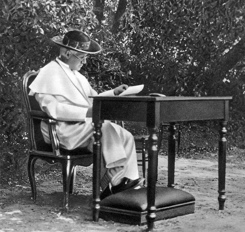 Pope Pius X in his garden, NOT planning to poison Griffith J. Griffith
