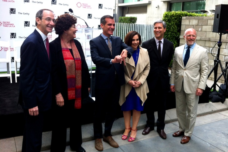 May 6, 2013: LA Mayor Eric Garcetti clowns at Pacific Standard Time LA/LA event in downtown LA, at which the Getty Foundation announced $5m in PST LA/LA research grants.
