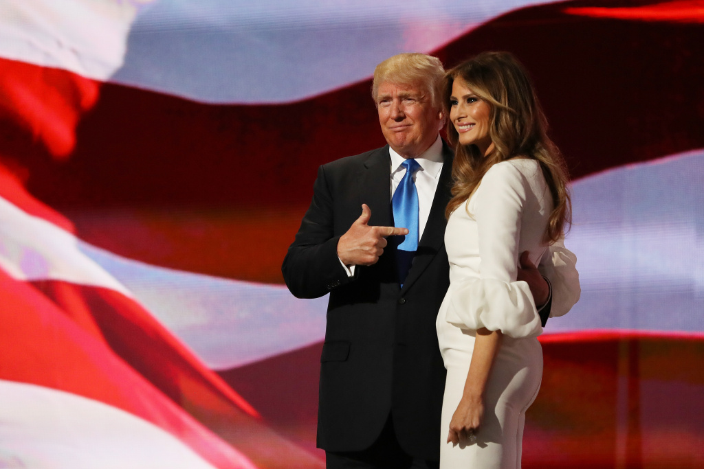 Presumptive Republican presidential nominee Donald Trump gestures to his wife Melania after she delivered a speech on the first day of the Republican National Convention.