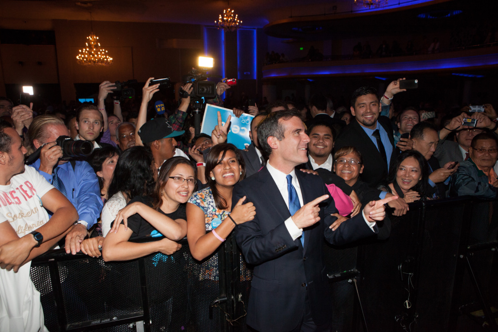 Eric Garcetti thanks supporters at The Palladium in Hollywood, Calif. on May 21st, 2013.