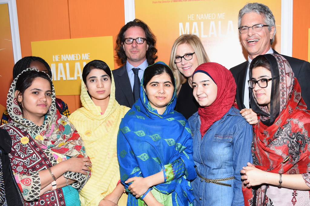 Director Davis Guggenheim, producer Walter Parkes and documentary subjects Malala Yousafai, Kainat Soomro, Kainat Riaz and Aansoo Kohli attend the