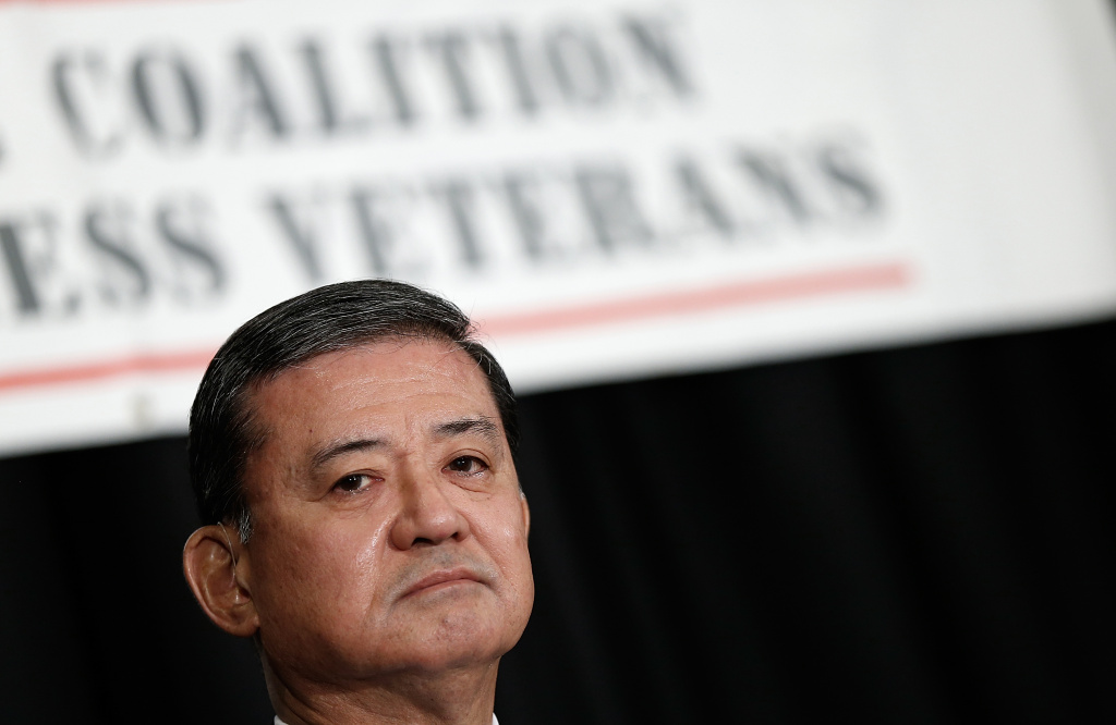 U.S. Secretary of Veterans Affairs Eric Shinseki waits to address the National Coalition for Homeless Veterans May 30, 2014 in Washington, DC. Shinseki is under bipartisan pressure to resign in the wake of an unfolding scandal following a report by the inspector general's office.