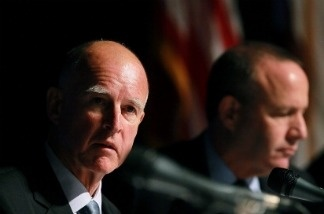 California governor-elect Jerry Brown looks on as he leads a briefing on California's state budget.