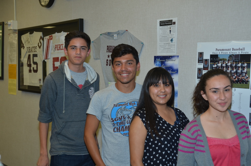 From left to right: Lucio Lopez, Xavier Aldana, Thalia Hernandez and Faby Zuniga. The fifth scholarship winner is not pictured.