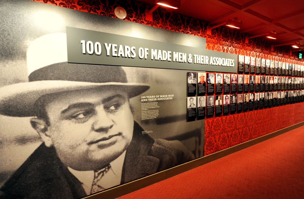 A wall of images of mobsters is displayed at The Mob Museum in Las Vegas, Nevada. The National Museum of Organized Crime and Law Enforcement chronicles the history of organized crime in America and the efforts of law enforcement to combat it.