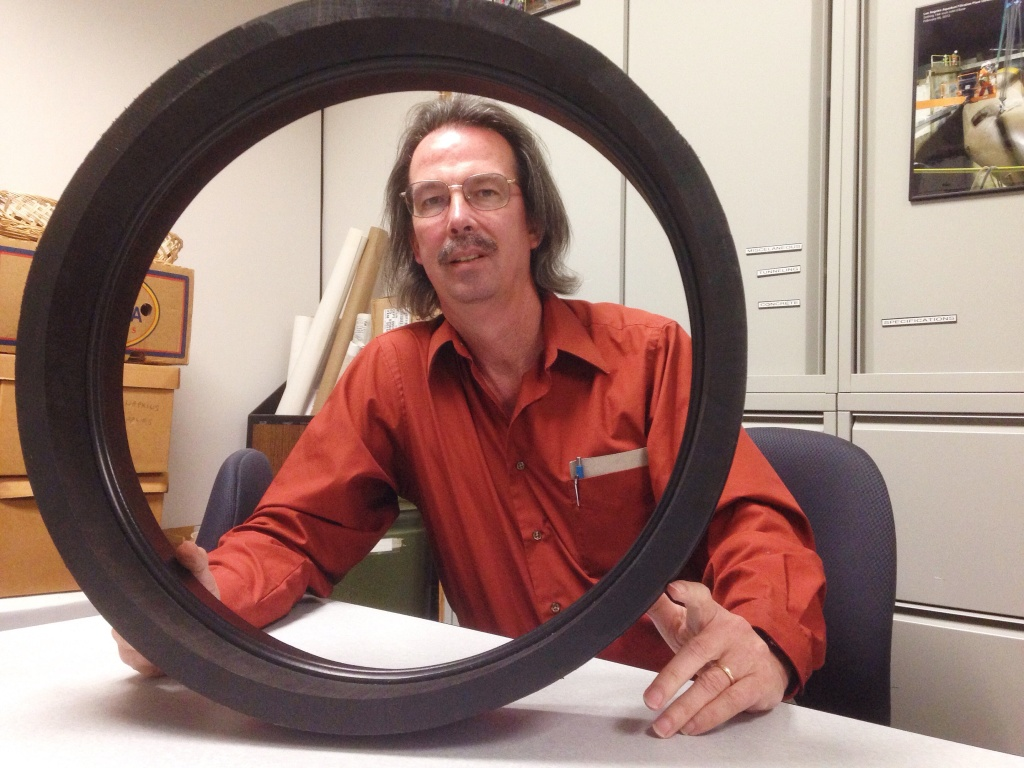 LADWP engineer Craig Davis with a section of a high-density polyethylene pipe. This pipe is flexible and when welded correctly can survive large offsets and still transport water. It's one of the tools LADWP plans to use to shore up its aqueducts.