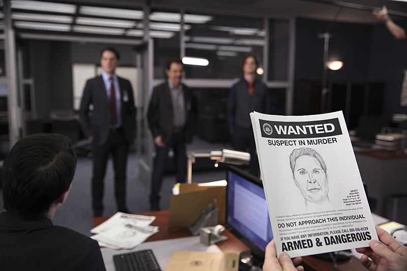 Thomas Gibson as Aaron Hotchner, Joe Mantegna as David Rossi, Matthew Gray Gubler as Dr. Spencer Reid in the CBS series Criminal Minds.