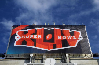 The Super Bow XLIV logo is seen atop Sun Life Stadium on February 3, 2010 in Miami Gardens, Florida.