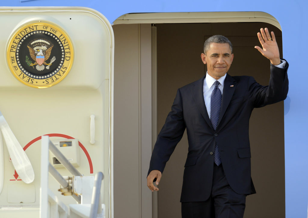 President Barack Obama waves as he arrives at Los Angeles International Airport, Thursday, May 10, 2012, in Los Angeles. Obama is traveling to the West Coast for a series of campaign fundraisers.