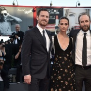 "Actress Shannon Plumb (R), British actor Michael Fassbender (L) and Swedish actress Alicia Vikander (2ndL) pose with director Derek Cianfrance (2ndR) on the red carpet before the premiere of the movie ""The Light Between Oceans"""