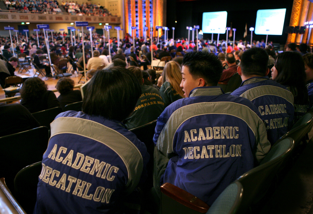Members of the North Hollywood Academic Decathlon team at the 2008 California Academic Decathlon. Once they advance to the national level, California schools tend to do well. Granada Hills Charter High School won the event for the third year in a row in 2013.