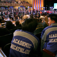Members of the North Hollywood Academic Decathlon team in 2008.Granada Hills Charter High School won the event for the third year in a row in 2013.