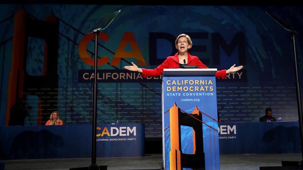 Sen. Elizabeth Warren, D-Mass., speaks during the California Democrats 2019 State Convention in San Francisco on June 1, 2019.
