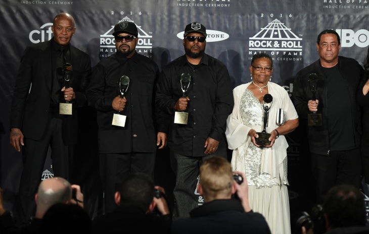 N.W.A. members Dr. Dre, Ice Cube, MC Ren, Eric
