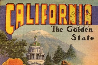 A postcard featuring California: the Golden State.