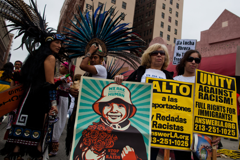 May Day protesters gathered in downtown Los Angeles to call for immigrants' rights.