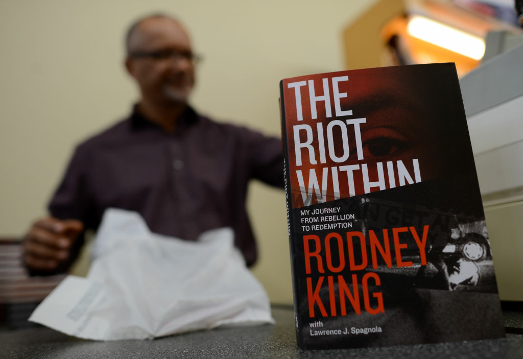 'The Riot Within: My Journey From Rebellion to Redemption,' by Rodney King is displayed at EsoWon bookstore in L.A. King reportedly received a six-figure advance for the book, but he said that he only saw five.
