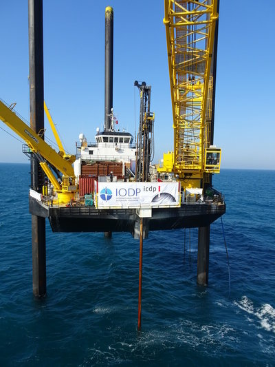 Liftboat Myrtle is a drilling platform normally used for oil operations in Gulf of Mexico. Since April, geologists have been using it to drill into the crater Chicxulub.