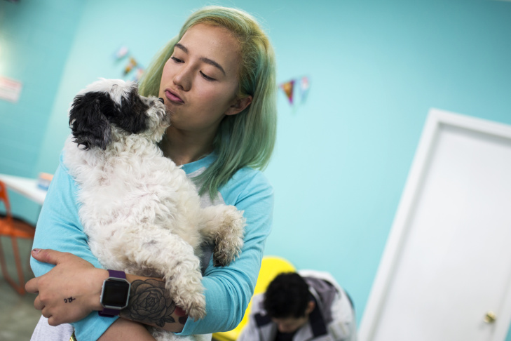 Brianne Neumann of Glendale spends times with dogs for adoption during the grand opening of the Dog Cafe, L.A.'s first-ever dog cafe, in Silver Lake on Thursday, April 7, 2016.