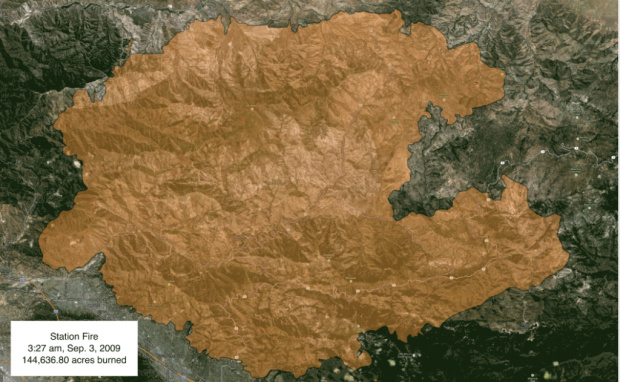 Animation: 2009's Station Fire burns the Angeles National Forest