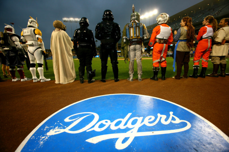 Star Wars characters attend ceremonies before the game between the Pittsburgh Pirates and the Los Angeles Dodgers on September 16, 2011 at Dodger Stadium.