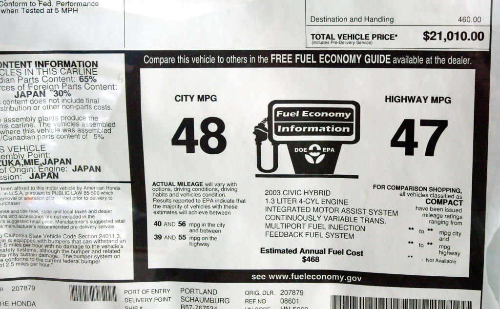 Fuel economy information is displayed on a window of a new 2003 Honda Civic Hybrid in the showroom of O'Hare Honda September 13, 2002 in Des Plaines, Illinois.