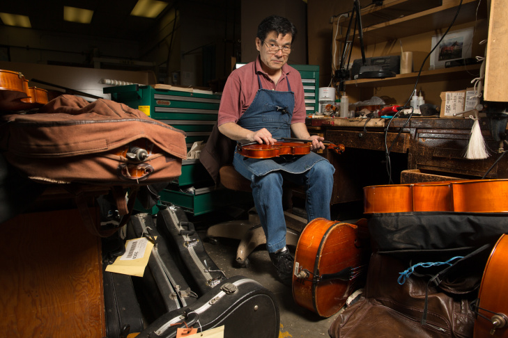 Edwin Barker is a string instrument repair technician at Los Angeles Unified School District's Music Repair Shop.