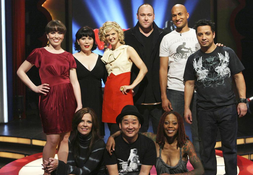 MADtv cast (top, from left): Crista Flanagan, Alex Borstein, Arden Myrin, Will Sasso, Keegan-Michael Key, Johnny Sanchez. (bottom): Mo Collins, Bobby Lee, Debra Wilson Skelton.