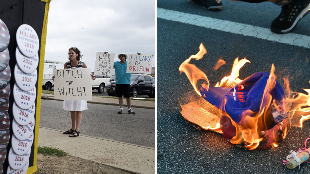 At left, demonstrators hold signs outside a campaign event for Hillary Clinton in Columbus, Ohio, on Tuesday. Right: A Donald Trump hat burns during a protest near a Trump rally in San Jose, Calif., earlier this month.