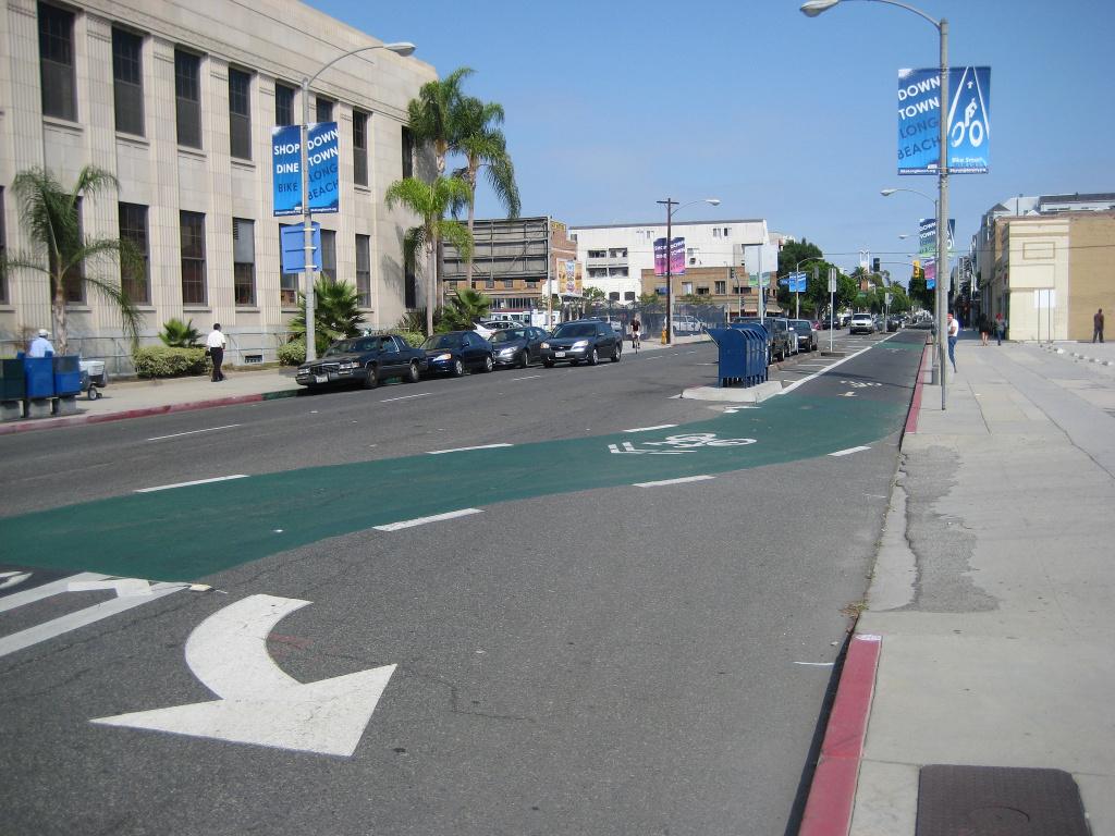 A bike lane in Long Beach.