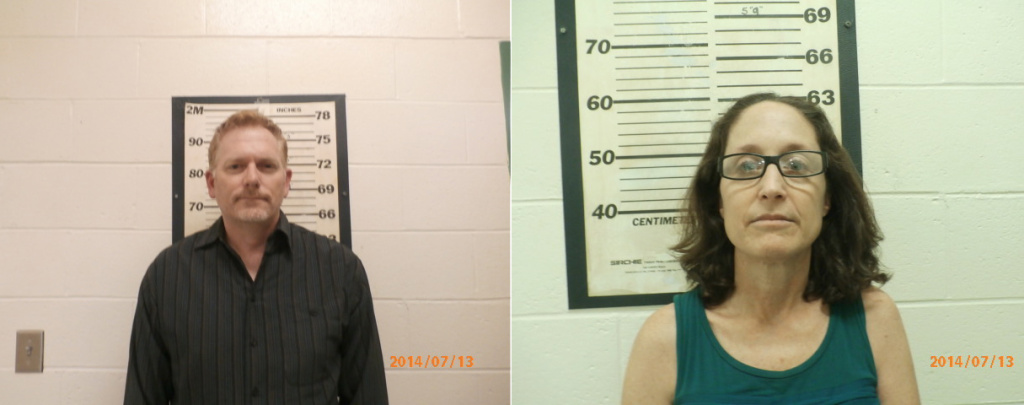 A compilation of mugshots from the Wayne County Sheriff's Office shows Randall Miller (L) and Jody Savin, director and producer, respectively, of the biopic about rock musician Gregg Allman. The two have been charged with felony manslaughter in the set death of camera assistant Sarah Jones.