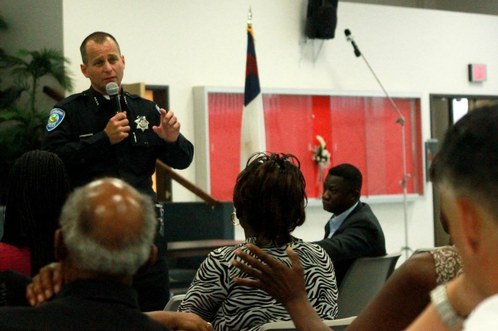 San Bernardino police chief Robert Handy discusses possible cuts in staffing and service at a town hall meeting.
