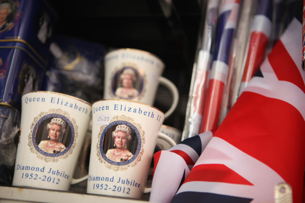 Mugs celebrating the Diamond Jubilee of Her Majesty Queen Elizabeth II on sale in Trafalgar Square on June 1, 2012 in London, England.