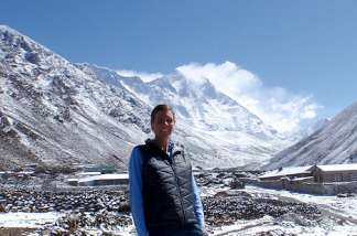 Cal State Fullerton lecturer Cindy Abbot in Nepal acclimating before her ascent up Mt. Everest in May.