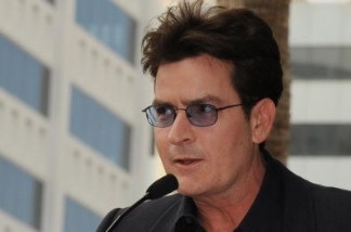 Charlie Sheen at the Hollywood Walk of Fame star unveiling for Chuck Lorre, his former boss.