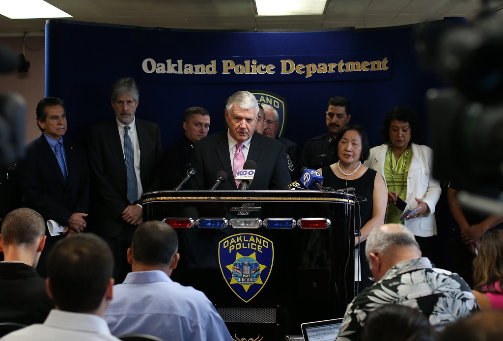Former Hartford chief of police and NYPD chief of transportation bureau Patrick Harnett, a consultant for the Bratton Group, speaks during a news conference at Oakland police headquarters on May 9, 2013 in Oakland, California. A day after Oakland police chief Howard Jordan abruptly resigned citing medical reasons, a report by the Bratton Group that was commissioned by the City of Oakland revealed problems in the department in several key areas. The report comes days after the FBI reported that Oakland has the highest robbery rate in the country with an average of 12 robberies occuring every day.