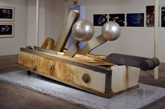 """Bomb Drop."" 1967-68/2000. Plexiglas, stainless steel and neon. 48 x 123 x 48 inches."