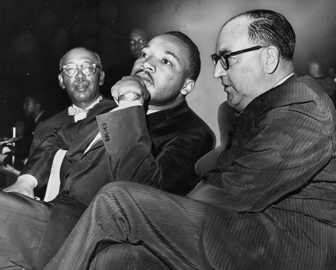 June 18, 1961: Rev. Martin Luther King, Jr. and Governor Edmund G. Brown at a freedom rally at the Sports Arena attended by 25,000 people.
