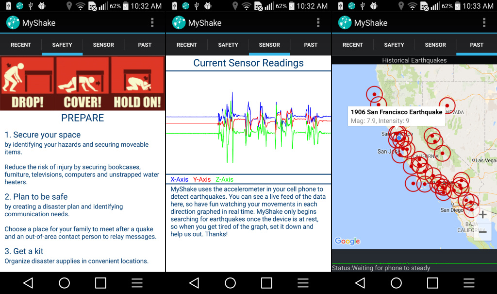 An app called MyShake allows smartphones to detect earthquakes and send valuable scientific data to researchers. It may one day also give early warning alerts.