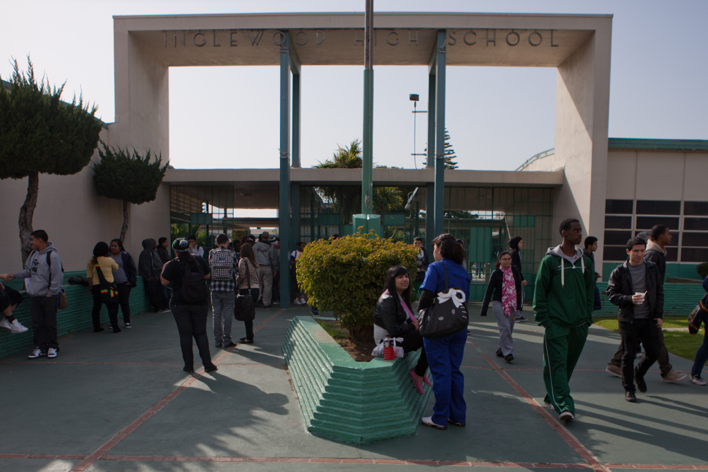 Students exit Inglewood High School as the bell rings on February 28, 2012.