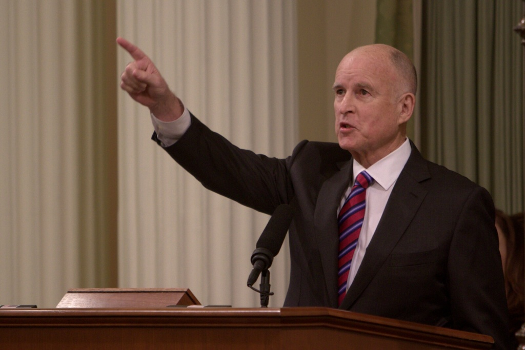 Jerry Brown speaks at the inaugural for his fourth and final term on Monday, Jan. 5, 2015.