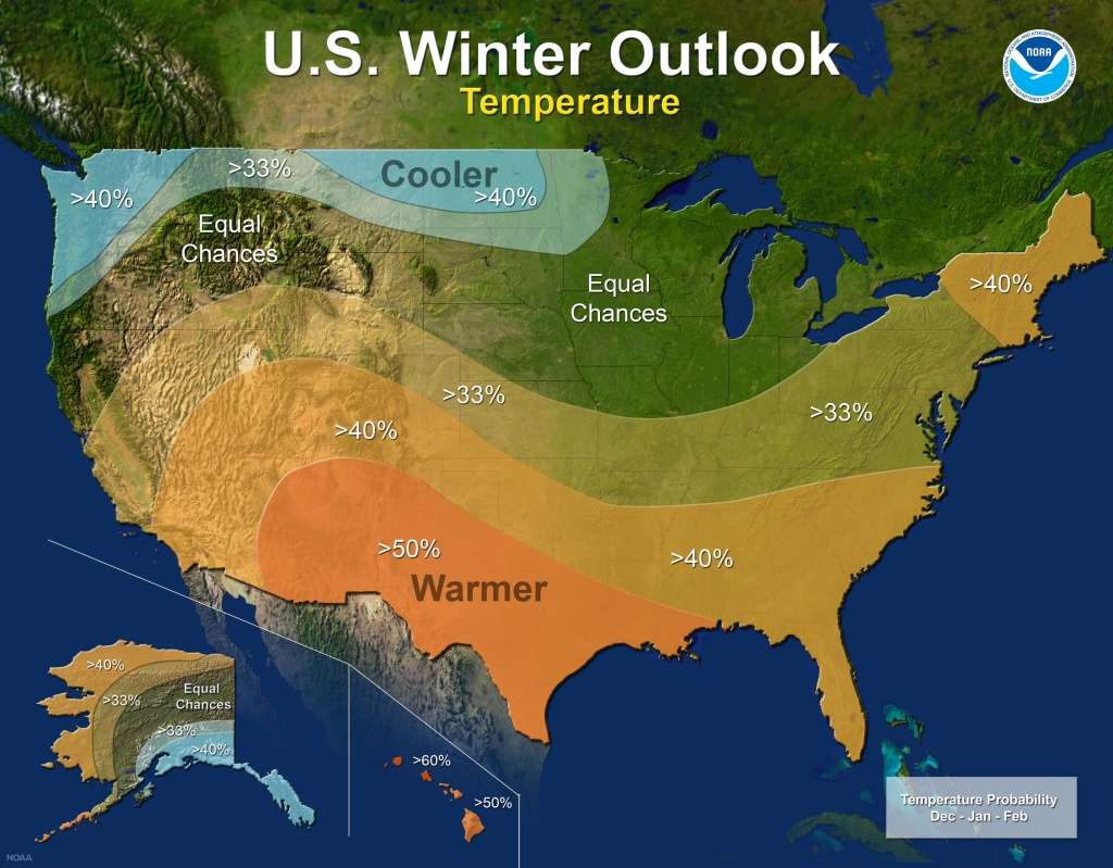 2017-18 Winter Outlook map for temperature.