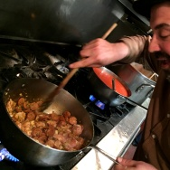 Dominick's chef Brandon Boudet is a happy man when he's stirring Mardi Gras jambalaya