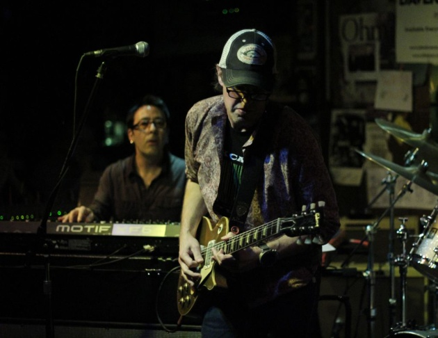 Guitarist Joe Bonamassa and keyboardist Renato Neto in Rock Candy Funk Party record release concert, the Baked Potato, Jan. 23, 2013
