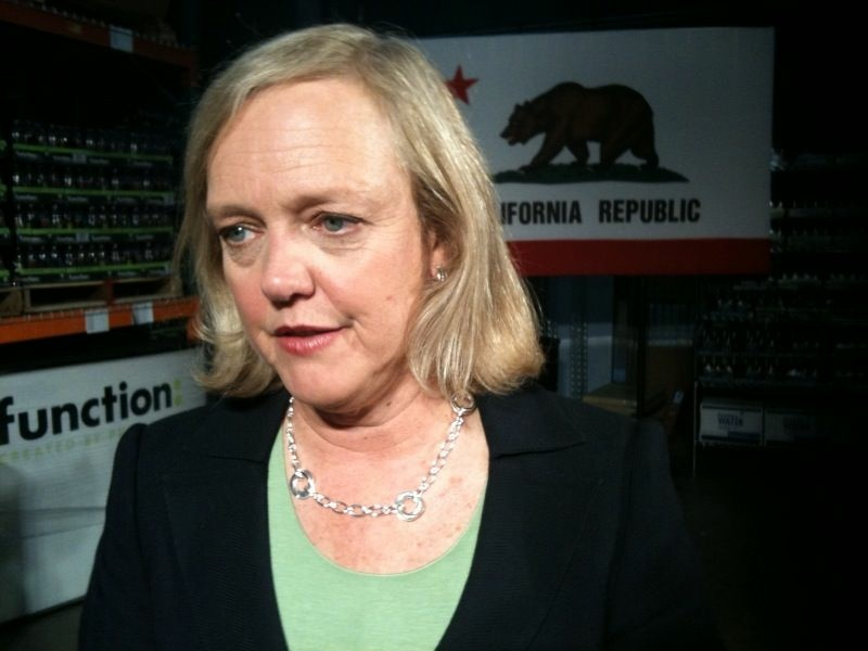 Meg Whitman answers reporters questions after an event in Culver City, Sept. 14, 2010.