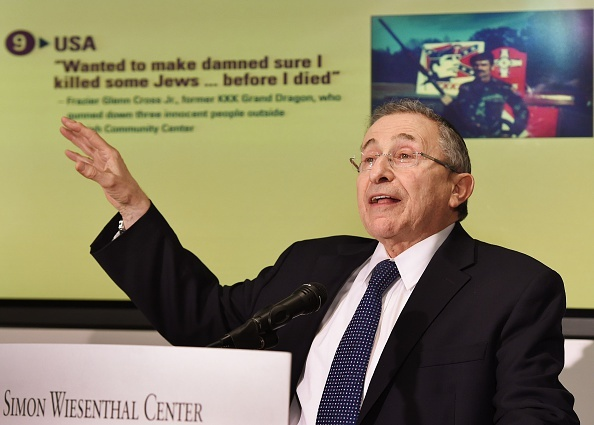 File: Rabbi Marvin Hier from the Simon Wiesenthal Center briefs the media after releasing its annual Top Ten Worst Global Anti Semitic/Anti-Israel Incidents at The Museum of Tolerance in Los Angeles on Dec. 30, 2014.