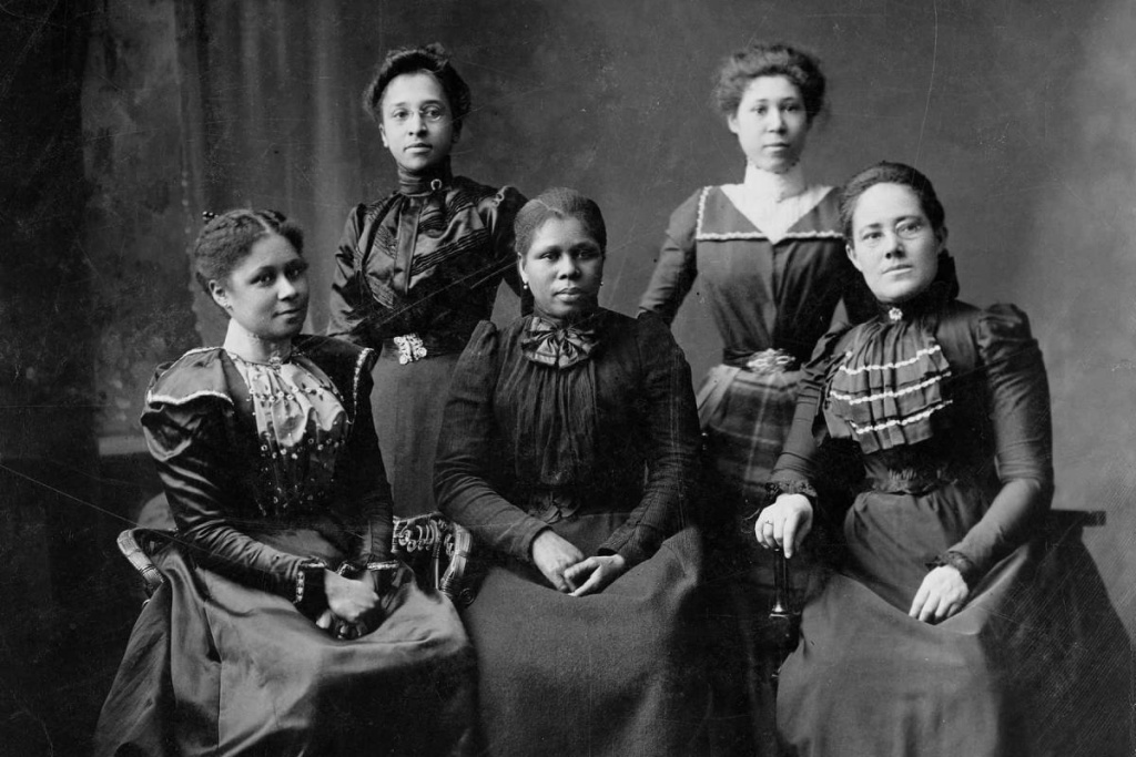 African American women who were members of the League of Women Voters of California. Circa 1890s.