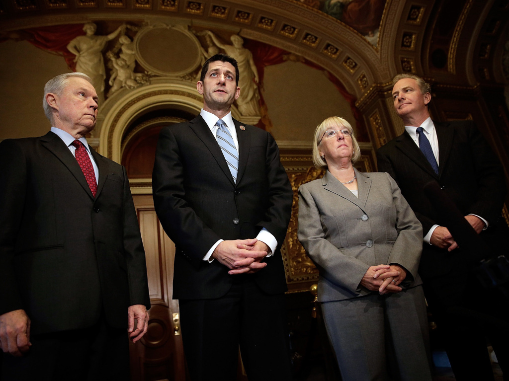 Members of the bipartisan budget conference (left to right), Sen. Jeff Sessions, Rep. Paul Ryan, Sen. Patty Murray and Rep. Chris Van Hollen on Thursday. Can they reach a deal by Dec. 13?
