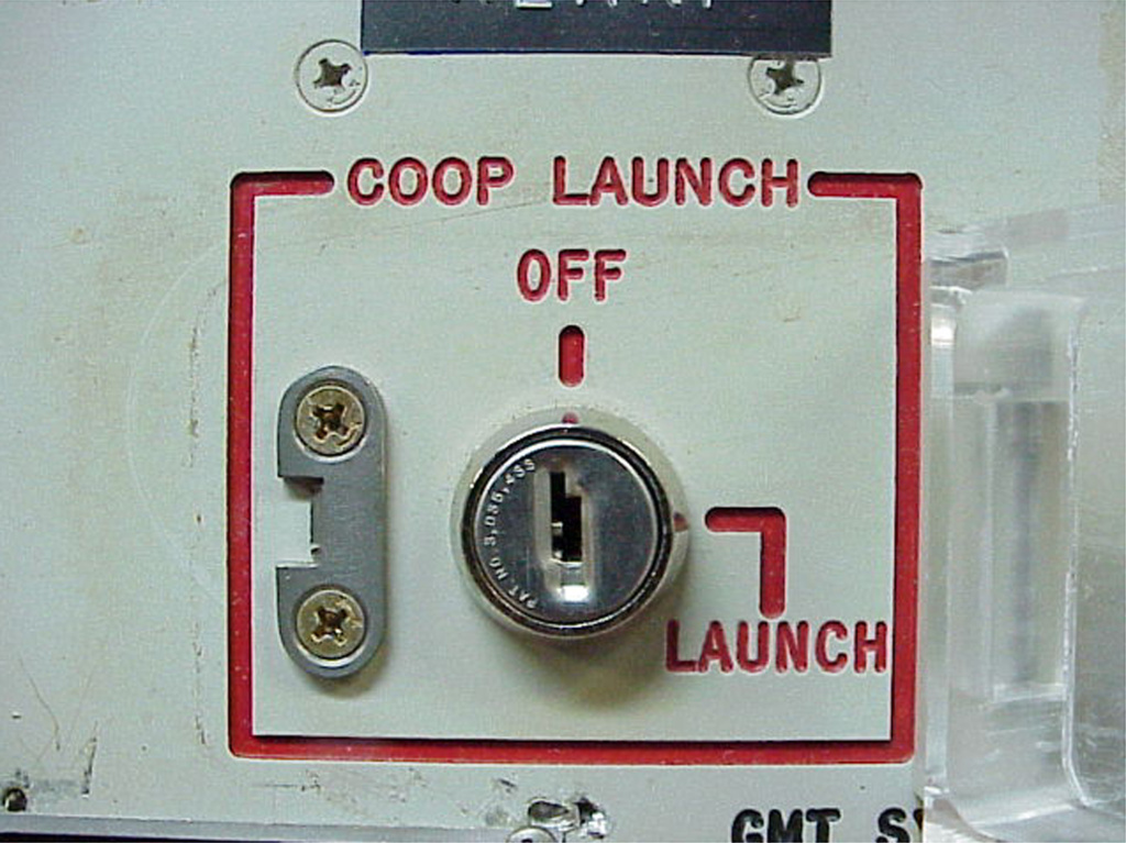 The launch-key mechanism at the deactivated Delta Nine Launch Facility near Wall, S.D., photographed in 2002.
